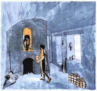 Hypothèse de restitution du four de potier de la boutique 29 de la via dei sepolcri au moment de la préparation de la cuisson